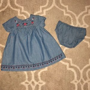 Carters chambray red and navy embroidered dress